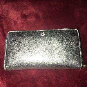 Used Tory Burch crinkle metallic zip wallet